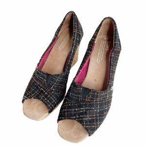 Toms tweed peep toe wedge espadrilles sz 8